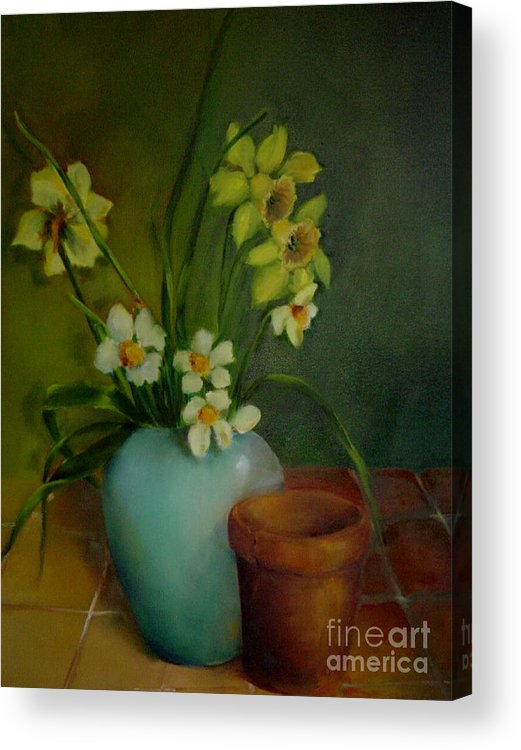 Greeting Card Acrylic Print featuring the painting Daffodils          Copyrighted by Kathleen Hoekstra