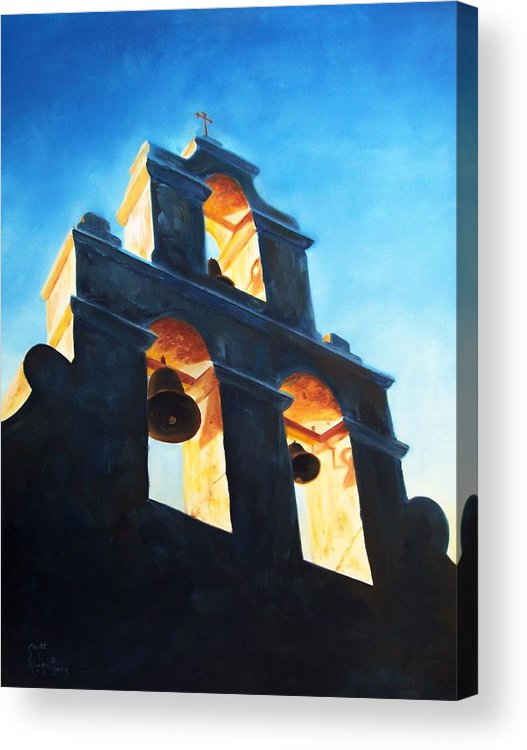 Building Acrylic Print featuring the painting Evening Mission by Scott Alcorn