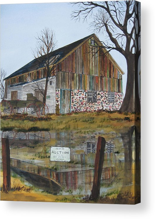 Farm Country Rural Landscape Fineart Auction Barn Buggy Water Reflection Acrylic Print featuring the painting Farm Auction by Jack G Brauer