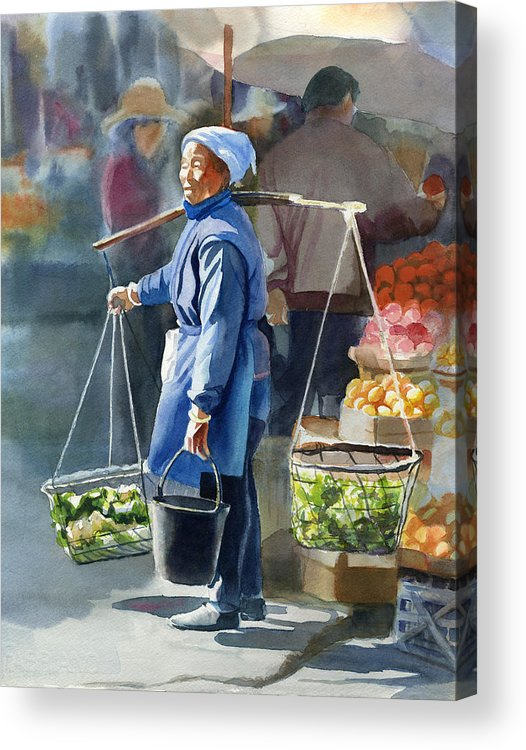 Chinese Acrylic Print featuring the painting Gathering Greens by Sharon Freeman