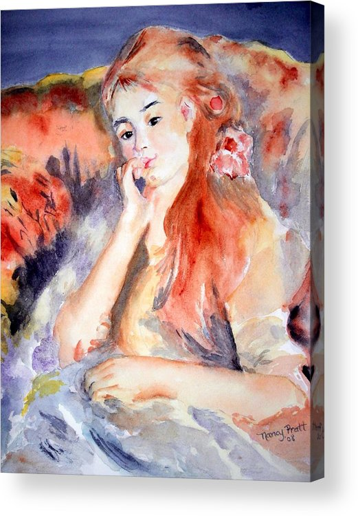 Watercolor Girl Chair Hair Smile Lounging Colors Acrylic Print featuring the painting Girl Lounging After Renoir by Nancy Pratt