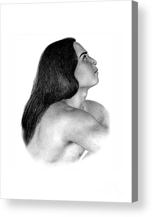 Pencil Drawing Print Acrylic Print featuring the drawing Giving Thanks by Joe Olivares