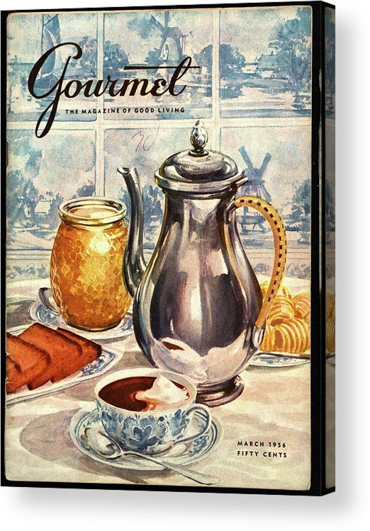 Illustration Acrylic Print featuring the photograph Gourmet Cover Featuring An Illustration by Hilary Knight