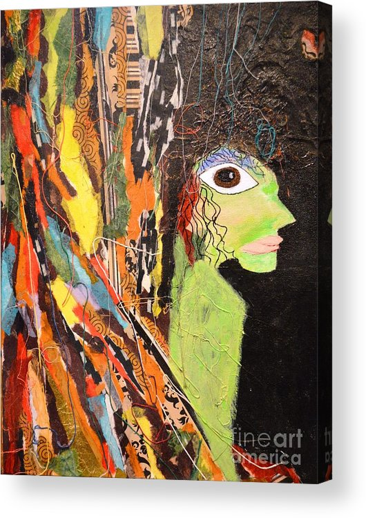 Mixed Media Acrylic Print featuring the painting Green Wickedness by Shirley Barone