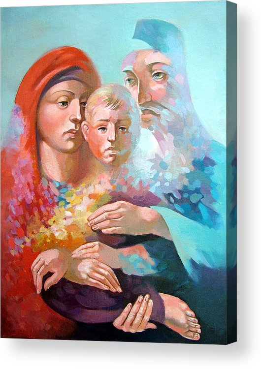 Saint Mary Acrylic Print featuring the painting Holy Family by Filip Mihail