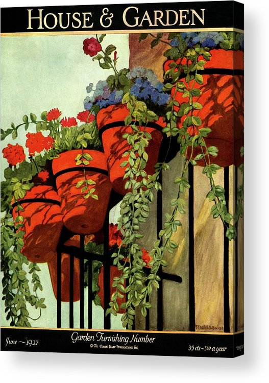 House And Garden Acrylic Print featuring the photograph House And Garden Garden Furnishing Number Cover by Ethel Franklin Betts Baines