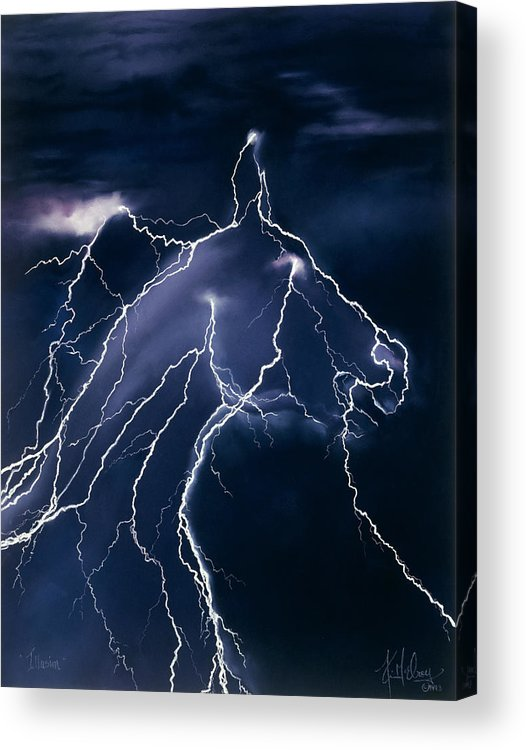 Horse Lightning Acrylic Print featuring the pastel Illusion by Kim McElroy