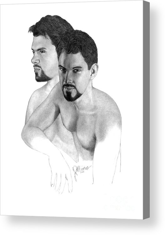 Pencil Drawing Print Acrylic Print featuring the drawing Intense Stare by Joe Olivares