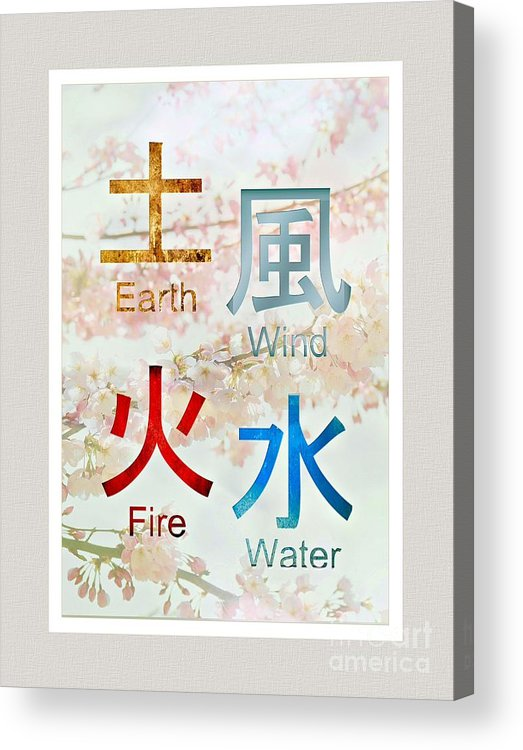 Japanese Symbols Earth Wind Fire Water Acrylic Print By Elaine Manley