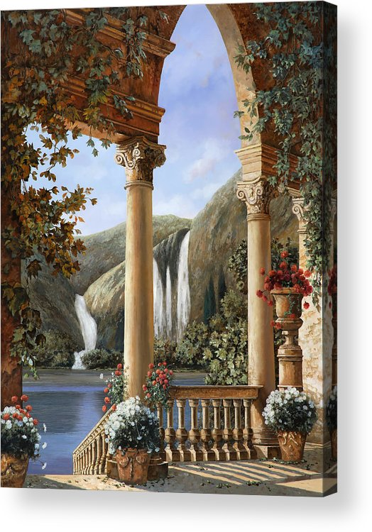 Water Fall Acrylic Print featuring the painting Le Cascate by Guido Borelli