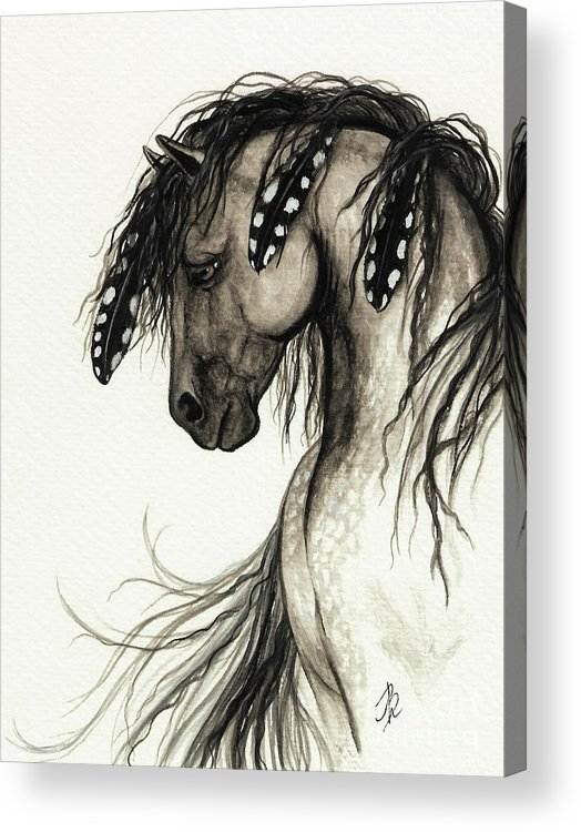 Curly Horse Breed Acrylic Print featuring the painting Majestic Mustang Horse Series #51 by AmyLyn Bihrle
