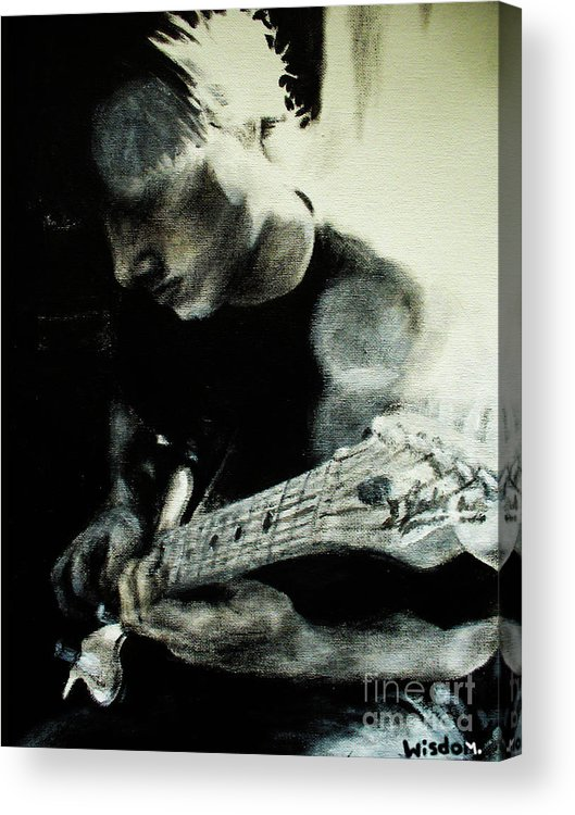 Portrait Acrylic Print featuring the painting Mike And His Guitar by Tylir Wisdom