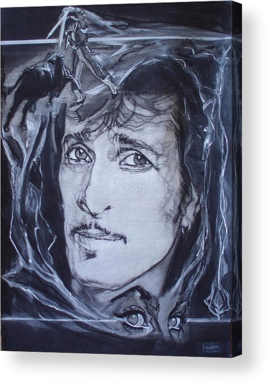 Charcoal;mink Deville;new York City;gina Lollabrigida Eyes ;cat Eyes;bullfight;toreador;swords;death;smoke;blues Acrylic Print featuring the drawing Willy Deville - Coup De Grace by Sean Connolly