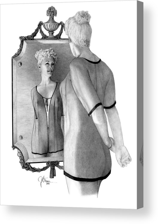 Pencil Drawing Print Acrylic Print featuring the drawing Mirror Image by Joe Olivares