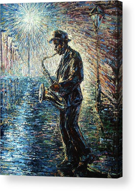 Impressionism Acrylic Print featuring the painting Moonwalk Solo by Natasha Mylius