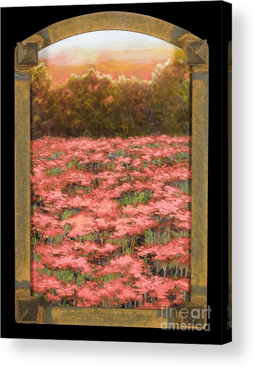 Poppy Acrylic Print featuring the painting Morning Poppy Fields With Gold Leaf By Vic Mastis by Vic Mastis