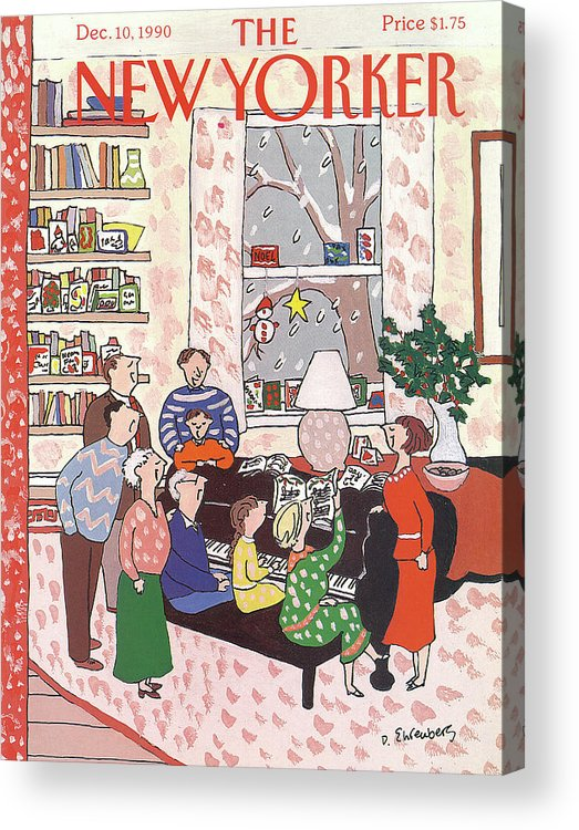 (a Family Gathers Around A Piano As They Sing Christmas Carols.) Entertainment Acrylic Print featuring the painting New Yorker December 10th, 1990 by Devera Ehrenberg
