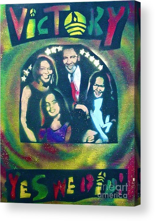Barack Obama Acrylic Print featuring the painting Obama Family Victory by Tony B Conscious