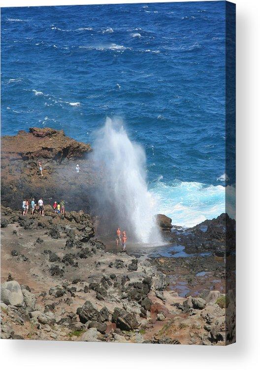 Sea Acrylic Print featuring the photograph Ocean Blowhole In Maui by John Orsbun