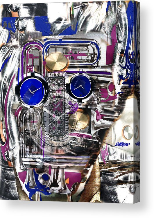 Robotic Time Traveller Acrylic Print featuring the digital art Old Blue Eyes by Seth Weaver