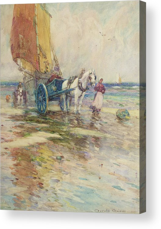 Horse And Cart Acrylic Print featuring the painting On The Beach by Oswald Garside