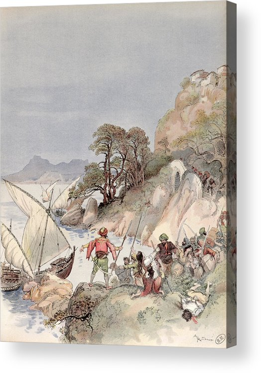 Terrorism Acrylic Print featuring the painting Pirates From The Barbary Coast Capturin Gslaves On The Mediterranean Coast by Albert Robida