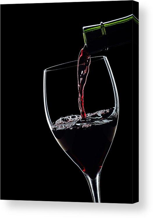 Red Wine Pouring Into Wineglass Acrylic Print featuring the photograph Red Wine Pouring Into Wineglass Splash Silhouette by Alex Sukonkin