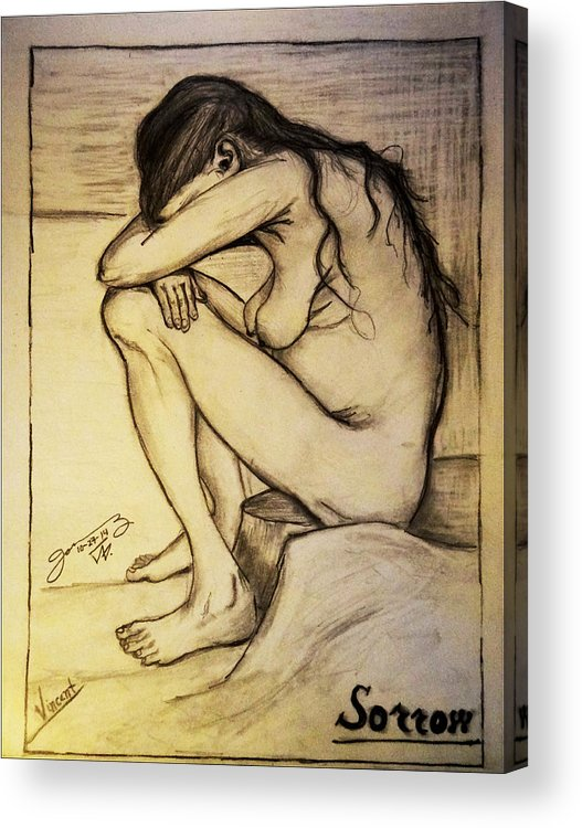 Replica Of Vincent's Drawing: Sorrow Acrylic Print featuring the photograph Replica Of Vincent's Drawing - Sorrow by Jose A Gonzalez Jr