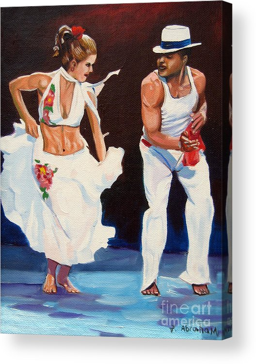 Dancing Acrylic Print featuring the painting Salsa by Jose Manuel Abraham