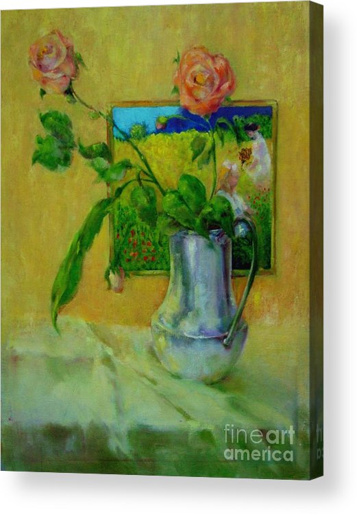Floral Acrylic Print featuring the painting Silver And Roses   Copyrighted by Kathleen Hoekstra