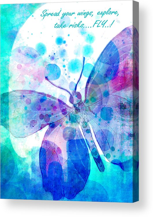 Butterfly Acrylic Print featuring the painting Spread Your Wings by Robin Mead