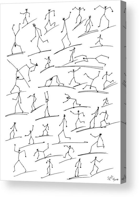 Stickmen Acrylic Print featuring the digital art Stickmen Surfing by Carl Deaville