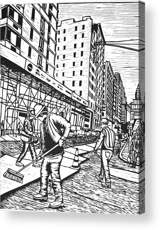 New York Acrylic Print featuring the drawing Street Work In New York by William Cauthern