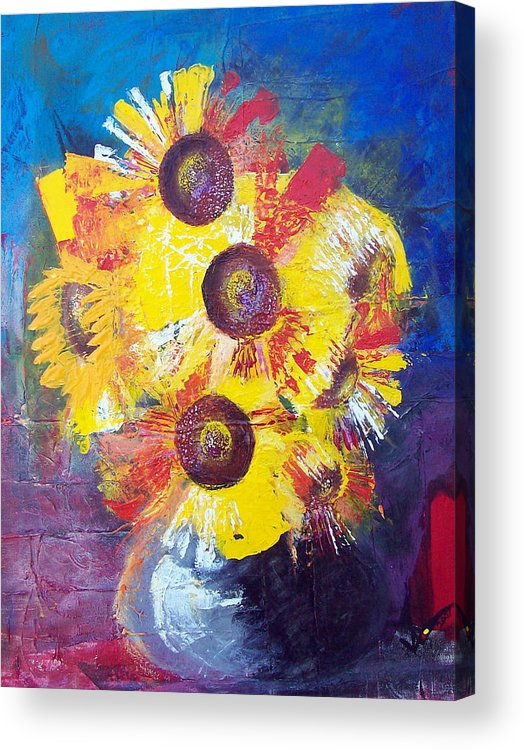 Flowers Acrylic Print featuring the painting Sunflowers In Blue Vase by Valerie Wolf