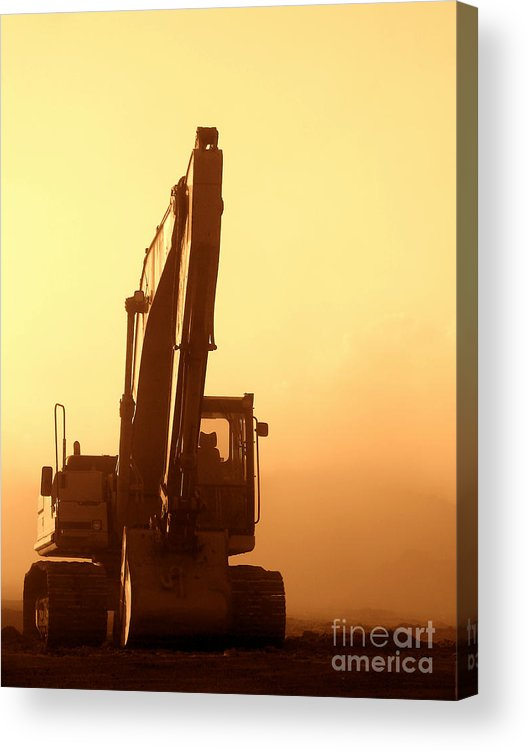 Excavator Acrylic Print featuring the photograph Sunset Excavator by Olivier Le Queinec