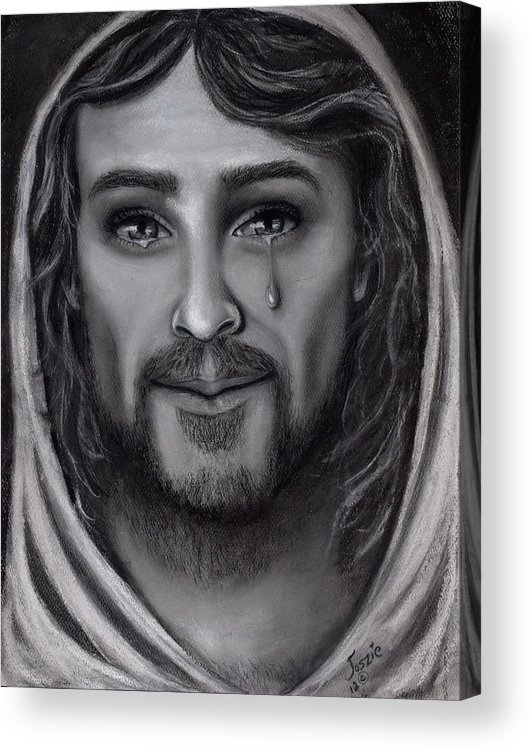 Jesus Acrylic Print featuring the painting Tears Of Joy by Just Joszie
