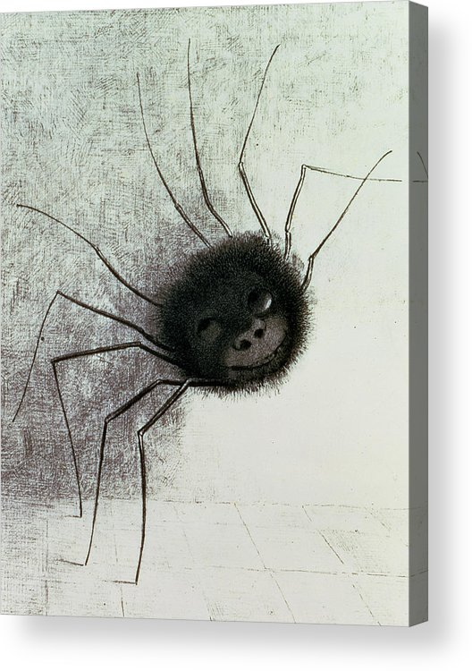 Spider Acrylic Print featuring the drawing The Laughing Spider by Odilon Redon