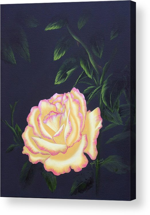 Rose Acrylic Print featuring the painting The Rose by Ruth Bares