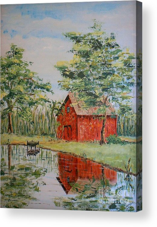 Red Shed Building Acrylic Print featuring the painting The Shed - Sold by Judith Espinoza