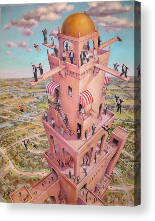 Tower Acrylic Print featuring the painting Tower Of Babbit by Henry Potwin
