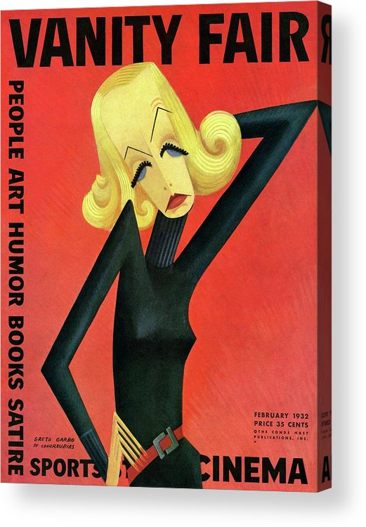 Actress Acrylic Print featuring the photograph Vanity Fair Cover Featuring Greta Garbo by Miguel Covarrubias