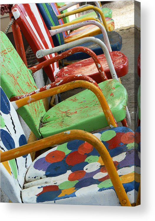 Vintage Acrylic Print featuring the photograph Vintage Metal Outdoor Chairs by Ruth Burke