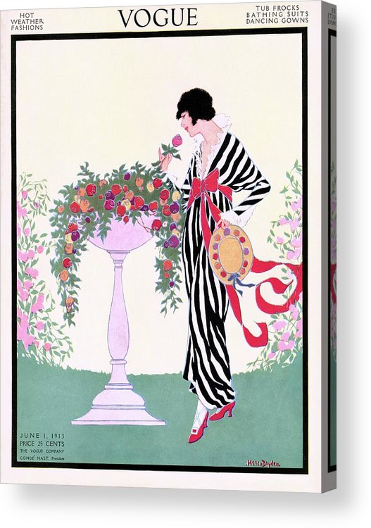 Illustration Acrylic Print featuring the photograph Vogue Cover Featuring A Woman Smelling A Rose by Helen Dryden