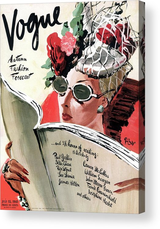 Fashion Acrylic Print featuring the photograph Vogue Cover Illustration Of A Woman Reading by Rene Bouet-Willaumez