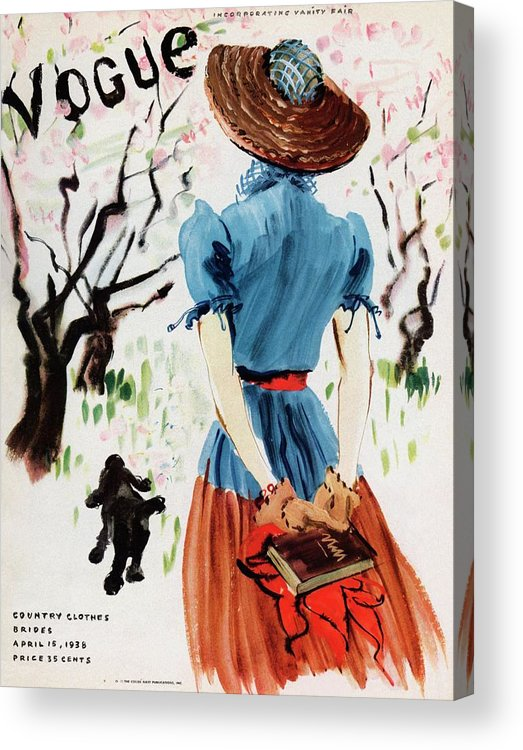 Illustration Acrylic Print featuring the photograph Vogue Cover Illustration Of A Woman Walking by Rene Bouet-Willaumez