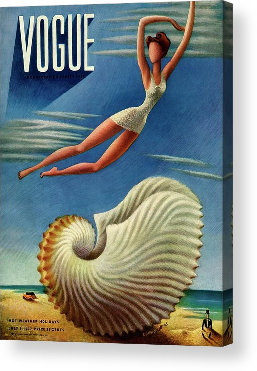 Illustration Acrylic Print featuring the photograph Vogue Magazine Cover Featuring A Woman by Miguel Covarrubias