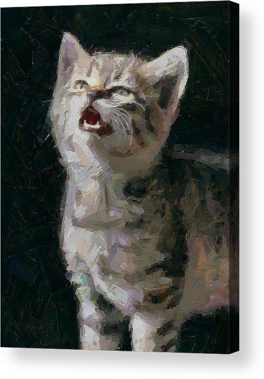 Kitty Acrylic Print featuring the digital art Wanna Be A Tiger by Yury Malkov