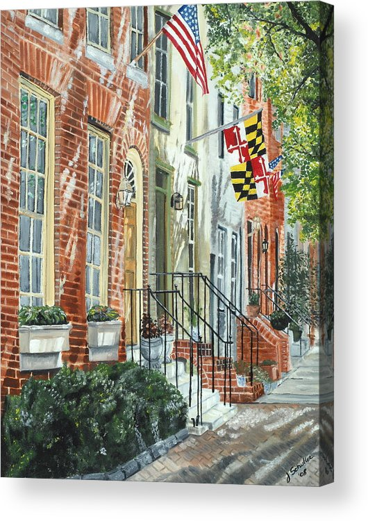 Baltimore Acrylic Print featuring the painting William Street Summer by John Schuller