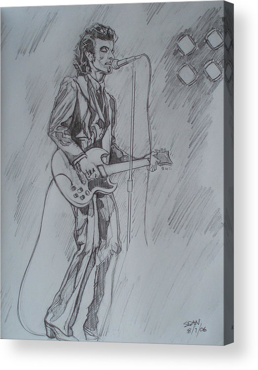 Pencil Acrylic Print featuring the drawing Willy Deville - Steady Drivin' Man by Sean Connolly
