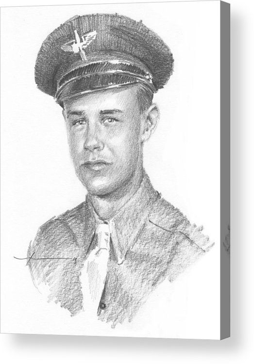 Www.miketheuer.com Wwii Military Dad Pencil Portrait Acrylic Print featuring the drawing Wwii Military Dad Pencil Portrait by Mike Theuer